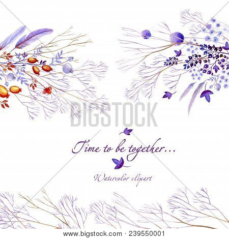 Watercolor Clipart Of Lilac Nature Horizontal Elements. Clipart Consist Of Berries, Flowers, Leaves,