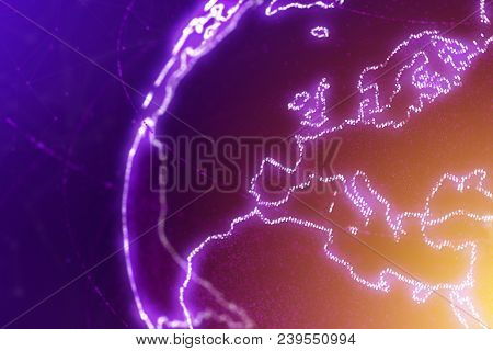 Europe Continent,section Of The World Map, Abstract Illustration