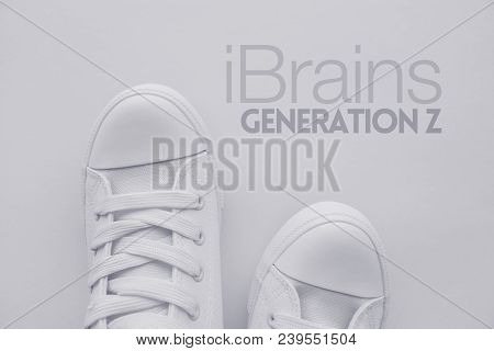 Ibrains Or Generation Z Concept. Member Of So Called Selfie Generation In White Casual Canvas Shoes