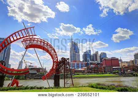 Nashville, Tennessee, Usa - April 27, 2018: Downtown Nashville, Tennessee, The Music City, Seen At D