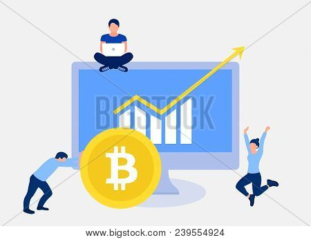 Bitcoin Growth Concept. Bitcoin Revenue Illustration. Analysts Shows A Report With Excellent Indicat