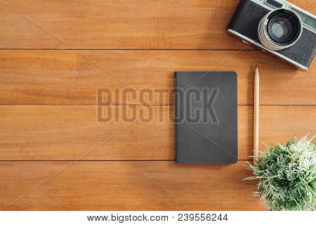 Minimal Work Space - Creative Flat Lay Photo Of Workspace Desk. Office Desk Wooden Table Background