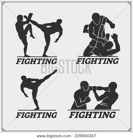 Set Of Fighting Club Emblems, Labels, Badges And Icons. Vector.