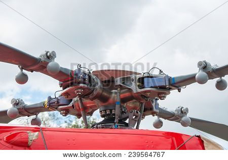 The Rotor Of Helicopter. Military Helicopter Rotor Blade Detail Close Up. Swashplate Of Helicopterhe