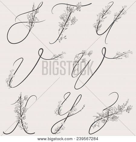 Vector Hand Drawn Flowered Alphabet Monogram Or Logo. Uppercase Letters With Flowers And Branches. H