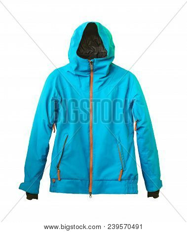 Winter Ski Blue Jacket Isolated On White Background. Sports Membrane Clothes With Hood, Zipper And V