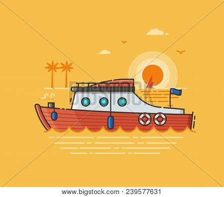 Red Yacht Tourist Boat On Seaside Background. Motor Boat Excursion Or Summer Holidays Concept Scene.
