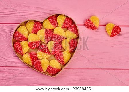 Jelly Candies In Heart Shaped Box. Group Of Colorful Hearts In A Heart Shaped Box And Copy Space, To