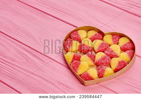 Tasty Candies In Heart Shaped Box. Colorful Heart Shaped Marmalade Candies In Heart Shaped Container