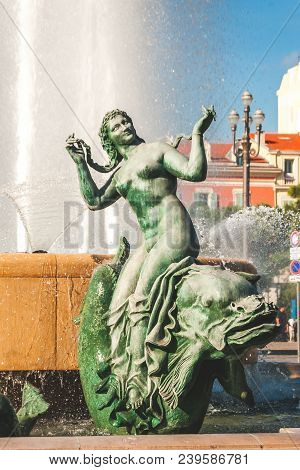 Nice, France - October 11, 2009: Bronze Sculpture Representing Venus Of Sun Fountain Or Fontaine Du
