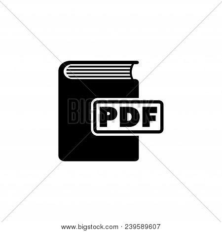 Ebook. Pdf Book. Flat Vector Icon. Simple Black Symbol On White Background