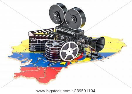 Ecuadorian Cinematography, Film Industry Concept. 3d Rendering Isolated On White Background
