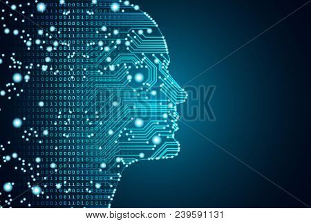 Big Data And Artificial Intelligence Concept. Machine Learning And Cyber Mind Domination Concept In