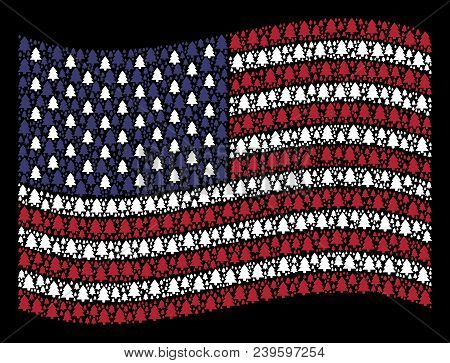 Fir-tree Pictograms Are Grouped Into Waving United States Flag Stylization On A Dark Background. Vec