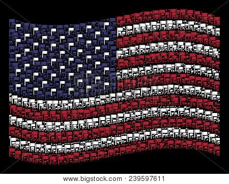Flag Symbols Are Organized Into Waving American Flag Abstraction On A Dark Background. Vector Collag