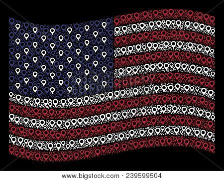 Map Marker Icons Are Grouped Into Waving Usa Flag Abstraction On A Dark Background. Vector Concept O