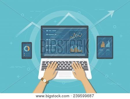 Concept Of Accounting, Analysis, Audit, Financial Report. Auditing Tax Process. Business Background.
