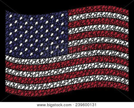 Oak Leaf Icons Are Arranged Into Waving Usa Flag Abstraction On A Dark Background. Vector Collage Of