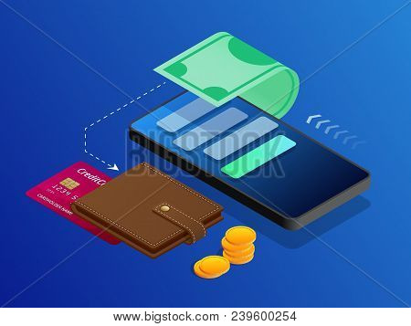 The Concept Of Electronic Bills Online Payment, Mobile Payment, Shopping, Banking. Vector Isometric