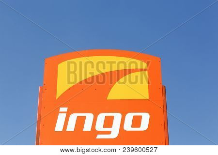 Holme, Denmark - April 8, 2018: Ingo Logo On A Panel. Ingo Is A Filling Station Brand Owned By Stato