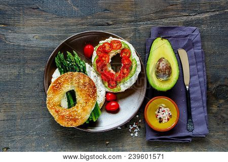 Healthy Veggie Breakfast Flat Lay. Sandwiches With Soft Cheese, Avocado, Tomatoes And Aspargus On Ba
