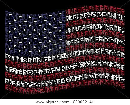 Triangle Flag Symbols Are Composed Into Waving American Flag Stylization On A Dark Background. Vecto