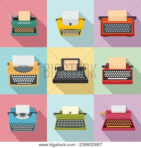 Typewriter Machine Keys Old Keyboard Icons Set. Flat Illustration Of 9 Typewriter Machine Keys Old K