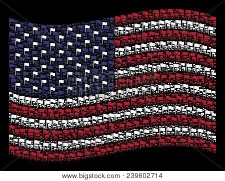 Waving Flag Pictograms Are Combined Into Waving American Flag Stylization On A Dark Background. Vect