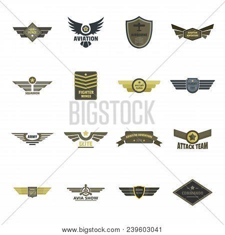 Airforce Navy Military Logo Icons Set. Flat Illustration Of 16 Airforce Navy Military Logo Vector Ic