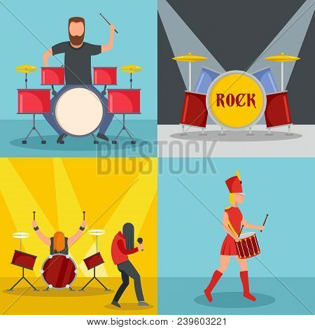Drummer Drum Rock Musician Icons Set. Flat Illustration Of 4 Drummer Drum Rock Musician Vector Icons
