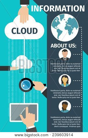 Internet Cloud Data Technology Poster Or Landing Page. Vector Flat Design For Web Cloud Networking A