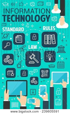 Digital Information And Internet Technology Poster. Vector Flat Design Of Cloud Data Or Web Networki