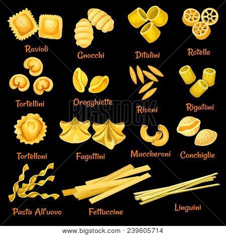 Italian Pasta Sorts Or Types Icons. Vector Isolated Set Of Ravioli, Gnocchi Or Ditalini And Rotelle,