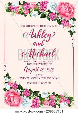 Rose Flower Frame Of Wedding Invitation Banner Template. Marriage Celebration Invite Card Design Wit