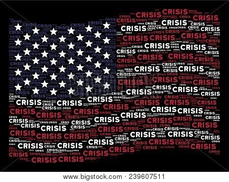 Crisis Text Items Are Organized Into Waving American Flag Stylization On A Dark Background. Vector C