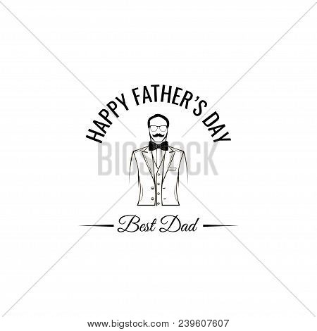 Father Day Greeting Card. Suir, Bow Tie. Best Dad Text. Fathers Day Symbols. Dad Greeting. Vector Il