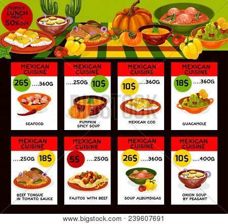 Mexican Cuisine Traditional Food Menu Price Cards. Vector Lunch Offer Design For Seafood, Pumpkin Sp