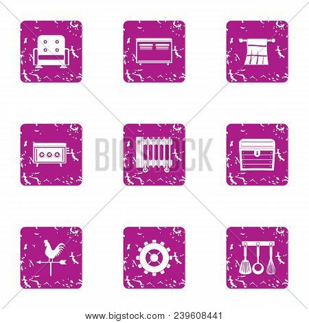 Home Comfort Icons Set. Grunge Set Of 9 Home Comfort Vector Icons For Web Isolated On White Backgrou