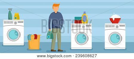 Man At Laundry Clothes Banner Horizontal. Flat Illustration Of Vector Man At Laundry Clothes Banner