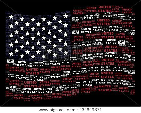 United States Text Items Are Organized Into Waving United States Flag Abstraction On A Dark Backgrou