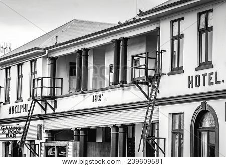Kaikoura, New Zealand - 26 August 2016: The Historic Adelphi Pub And Hotel Built In 1921 In Kaikoura