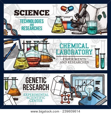 Science Technology And Scientific Research Sketch Banners. Vector Design Of Genetics Dna And Molecul