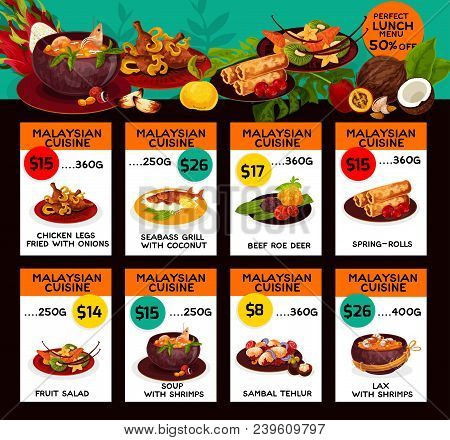 Malaysian Cuisine Restaurant Menu Price Cards With Lunch Discount Offer. Vector Design For Malay Tra