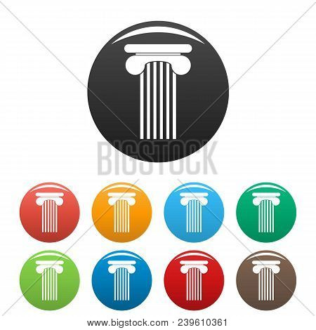Top Column Icon. Simple Illustration Of Top Column Vector Icons Set Color Isolated On White