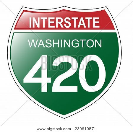 Interstate 420 Sign For Washington State, Usa - Vector Illustration