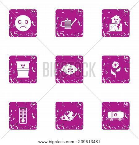 Chemically Hazardous Icons Set. Grunge Set Of 9 Chemically Hazardous Vector Icons For Web Isolated O