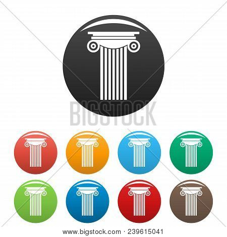 Reinforced Concrete Column Icon. Simple Illustration Of Reinforced Concrete Column Vector Icons Set