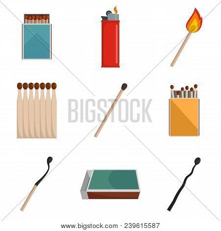 Safety Match Ignite Burn Icons Set. Flat Illustration Of 9 Safety Match Ignite Burn Vector Icons Iso
