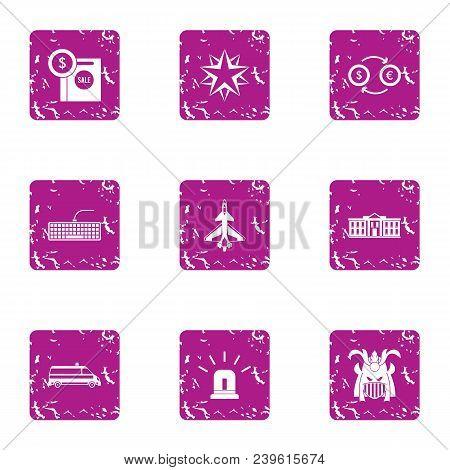 Business Undertaking Icons Set. Grunge Set Of 9 Business Undertaking Vector Icons For Web Isolated O