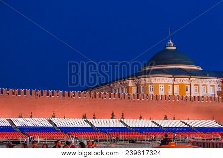 Moscow, Russia - April 30, 2018. View On The Palace Of Congresses From Red Square Before The May 1 C